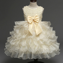 Summer 5 Colors Baby Girls Dresses Kids Cute Bow Party Princess Pageant Tulle Ball Gown Dress(China (Mainland))