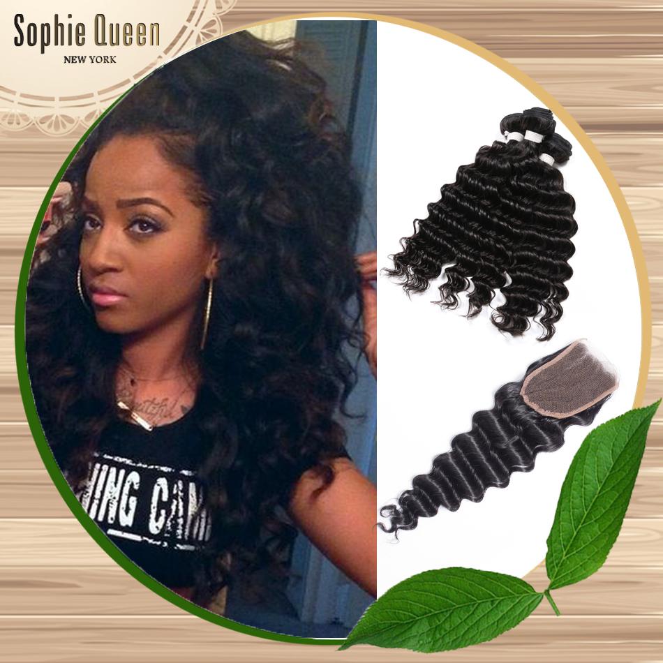 7A Queen Hair Peruvian Deep Wave With Closure Virgin Peruvian Hair Bundles With Closure 3 Part Closure With Bundles Deals <br><br>Aliexpress