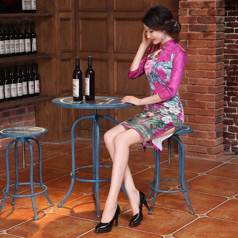 Hot Pink Velour Cheongsams Quality Mandarin Collar Women Sexy Dress Chinese Qipao Mini style Fashion DressОдежда и ак�е��уары<br><br><br>Aliexpress