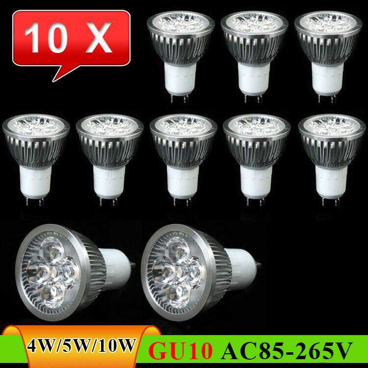 10 pcs GU10 4W 5W 10W LED Spot Light Bulb Lamp AC85~265V White/Warm White Spotlight Free Shipping(China (Mainland))