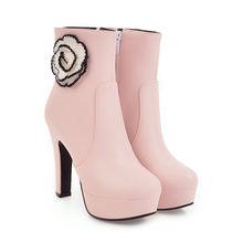 ASUMER 2020 kış yeni gelmesi kadın çizmeler siyah pembe beyaz bayanlar çizmeler platformu fermuar çiçek yarım çizmeler süper yüksek(China)
