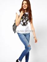 Girls Women Casual White T-shirt Cats Wearing Glasses Print Tops Cute Fashion