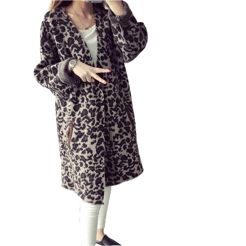 Leopard Print Cardigan Express - Sweater Grey