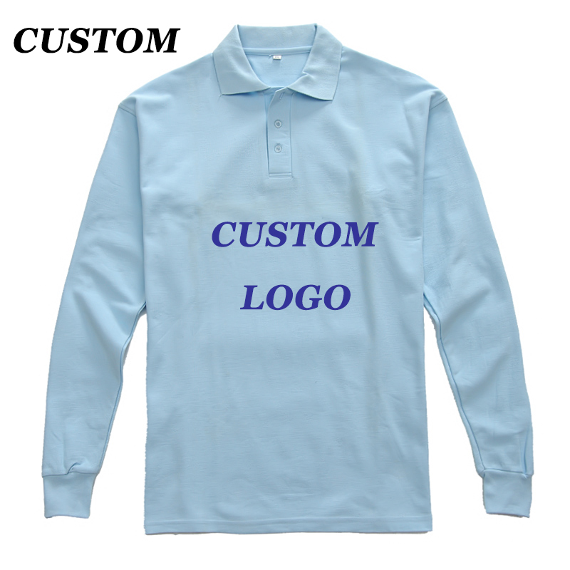 Custom Own Design Logo Diy Polo Shirts BambooLong Sleeve Blue Men/Women Plain Anti-Shrink Couple Rib Collar Casual Polo Shirt(China (Mainland))