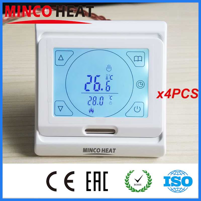 Anti-flammable PC heating floor digital room thermostat display lcd touch programmer for the boiler (4PC)<br><br>Aliexpress