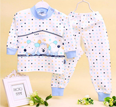 2015 100% Cotton Cute Baby Set Cartoon Autumn Winter Long Sleeve Newborn Baby Sets of Clothes Boy Baby Girl Clothes Wholesale(China (Mainland))