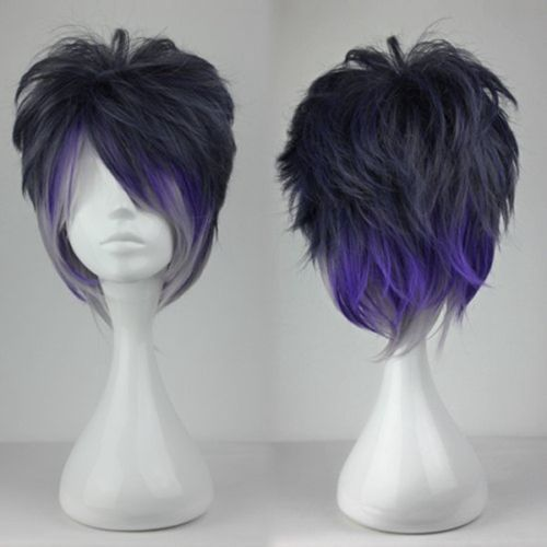 RH2966 fast shipping Fashion Purple Gray Mix Short Straight Anime Party Cosplay Costume Wig  (D Special discount 35%)<br><br>Aliexpress