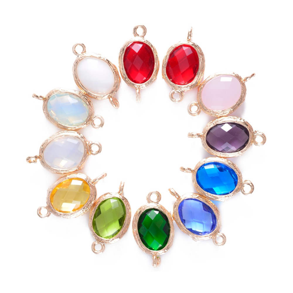 24Pcs 12 Assort Colors Faceted Framed Glass Bezel Connector CZ Zircon Birthstone Pendants For DIY Jewelry Personalized Findings(China (Mainland))