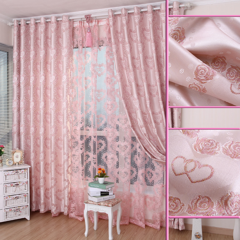 Rose romantic about pink curtain window screening finished product quality curtain fabric lace(China (Mainland))