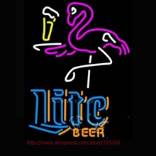 miller Lite Flamingo Neon Sign Beer Sign Handcrafted Neon Bulbs Real Glass Tube Personalized  Design Store Display 31x24(China (Mainland))