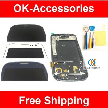 4.8 Inch White & Blue & black For Samsung Galaxy S3 GT-i9300  i9300 LCD + Touch Screen  + Protector + Tools +  Frame  1PC/Lot
