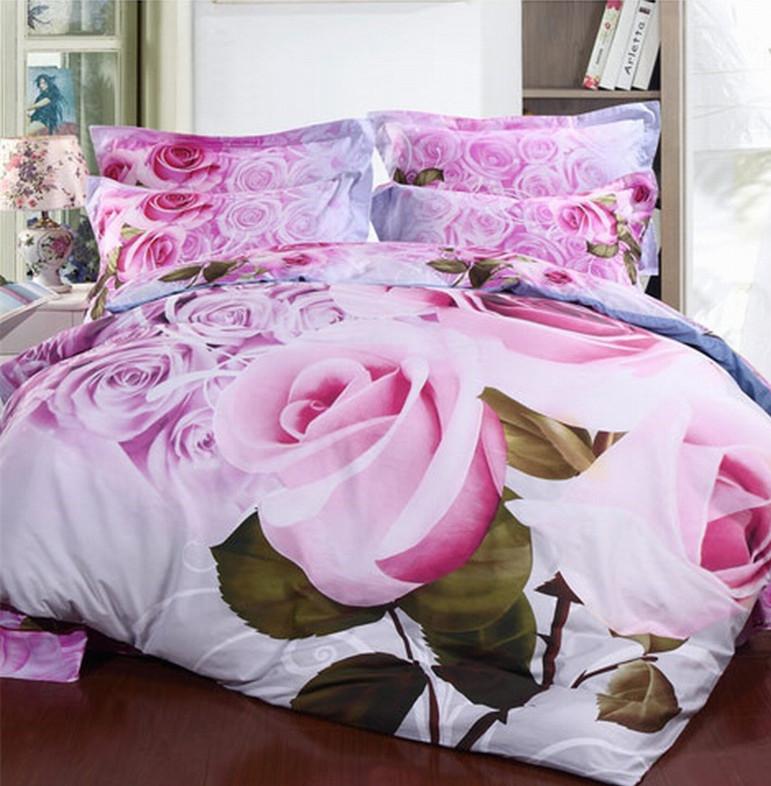 Romantic Pink Rose 3D Pattern Wedding Bedding Sets Queen Size Flower