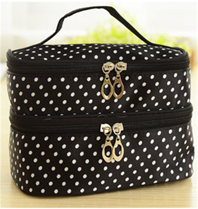 Гаджет  Double layer small dots cosmetic bag  makeup tool storage bag  multifunctional Storage package  free shipping  S385-5 None Камера и Сумки