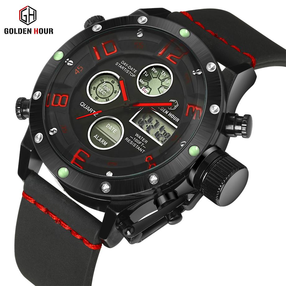 Top Brand Luxury Fashion Men Watches Men's Quartz Hour Clock Analog Digital LED Waterproof Sports Military Wrist Watch(China (Mainland))