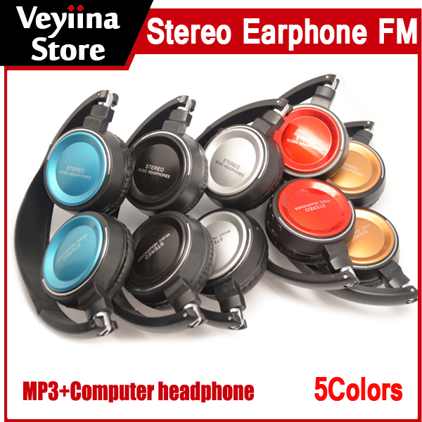 2015 New Hot High quality Stereo Music Headphone with FM,2014 New Sport headset Mp3 player, computer mp3,microSD card,Wholesale(China (Mainland))