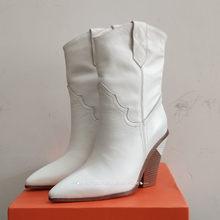 Candy kleur Snake skin botas mujer Westerse Laarzen Cowboy Laarzen voor vrouwen runway ontwerp Chunky Wiggen hak Mid-kalf laarzen(China)