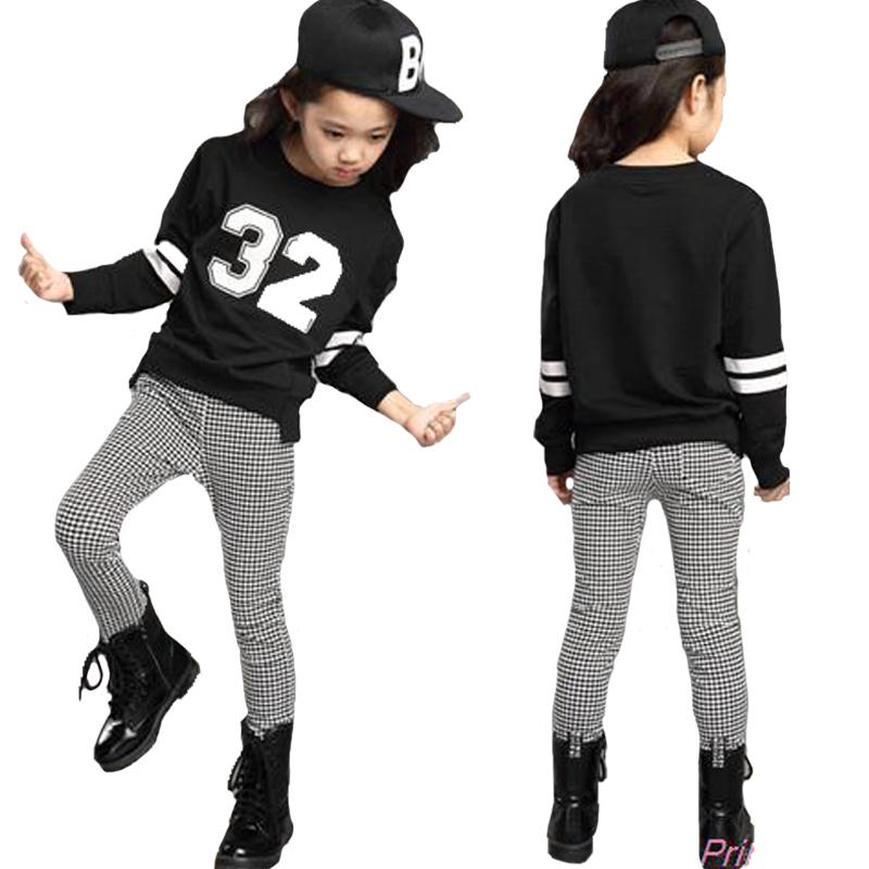 Teenage Girl Clothing Set Autumn 2016 Kids Hip Hop Girls Clothes Survetement Football Sports Suit Long Sleeve Top & Pants Set(China (Mainland))