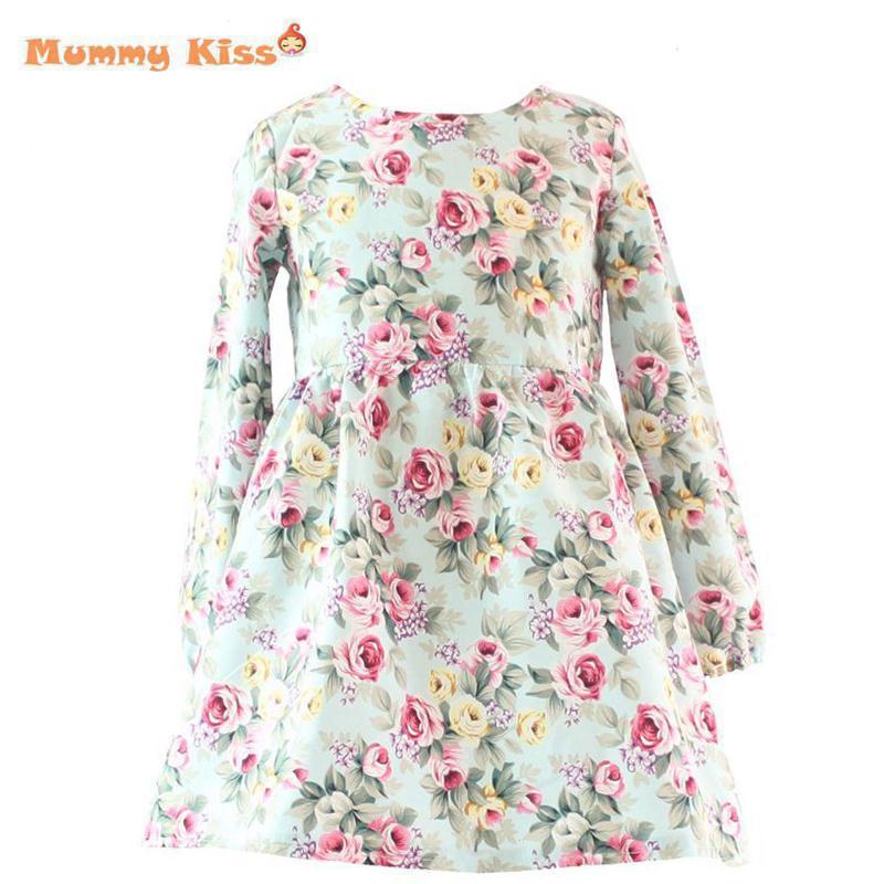 12Y Herbst/Winter Baby Mädchen Kleider Blumendruck Langarm ...