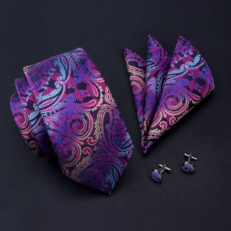 20 Style Silk Neck Tie Set 8.5cm Paisley Mens Ties Pocket Square Cufflinks Wedding Business Suits Fashion Corbatas - Necktie Shop store
