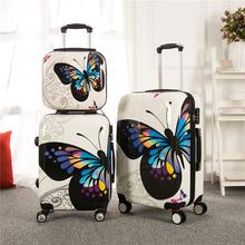 Abs schmetterling trolley gepäcktasche universal-räder gepäck reisetasche bildrahmen 14 20 24 28 box weibliche Sätze, cartoon kofferset(China (Mainland))