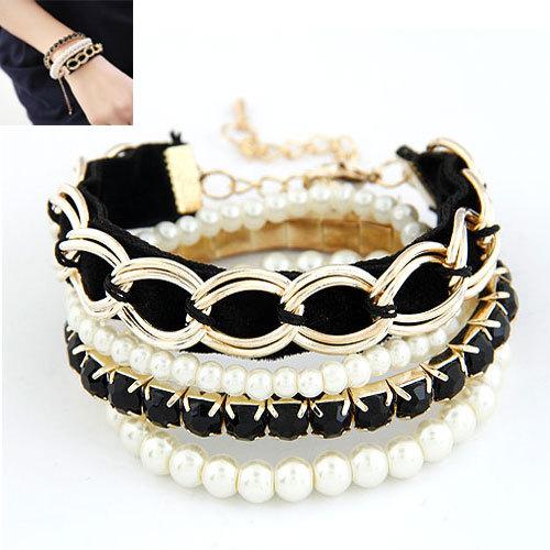 Fashion Pulseiras femininas Jewelry Multi Layers Pearl Chain Bracelets Bangles For Women Mujer Bijoux Accessories 2014(China (Mainland))