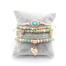 6pcs/set Love Heart Hamsa Hand Pendants Women's Bracelets Resin Beads Eye Charm Brand Design Wild Style Bracelet For Women(China)