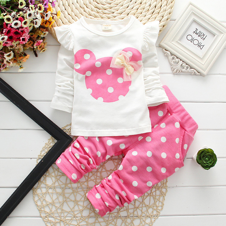 2015 new Spring Autumn children girls clothing sets minnie mouse clothes bow tops t shirt leggings pants baby kids 2 pcs suit(China (Mainland))