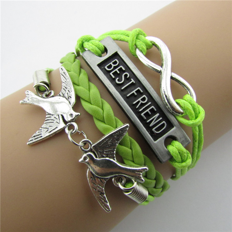 European and American retro romantic password 8 word stock fashion beautiful hand woven leather rope four Christmas hand(China (Mainland))