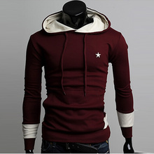 2015 fleece man han edition jackets Fashion male hooded wine red coat in the spring and autumn outfit