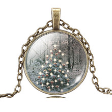 glass cabochon christmas gift art picture christmas tree pendant necklace necklace silver antique bronze chain necklace