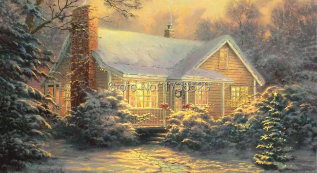 modern art painting Thomas Kinkade Landscape Oil Painting Christmas Cottage print On Canvas Home Decor Wall Art for living room(China (Mainland))