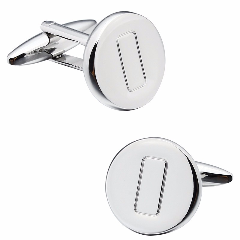 Simple Men's Round Pattern Creative Square Centre French Shirt Cuff Links for Business Man