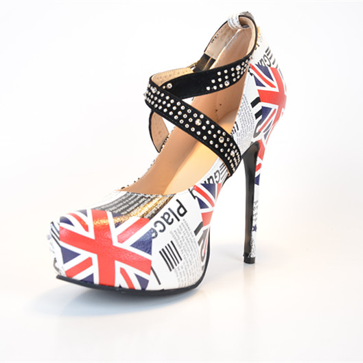 Фотография Fashion American Flag Women Shoes Rhinestone Ankle Strap Stilettos Pump Escarpins Femmes Plus Size High Heel Pumps Real Image