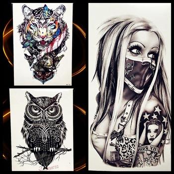Sexy Punk Masked Women Lady Temporary Tattoo Sticker 21*15cm Waterproof Fake Tattoo For Men Women Body Art Tatoo Arm Leg Decals