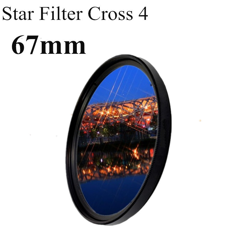 67mm Lens Star Light Filter Cross 4 4x Line 4pt Point To LC-67 For Canon Nikon DSLR Camera Len+Free Shipping Brazil+Tracking NO,(China (Mainland))