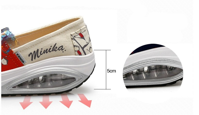 2016 Women Spring/Summer Breathable Platform Casual Shoes Womens Graffiti Creepers Walking Shoes Woman Air Shoes chaussure femme
