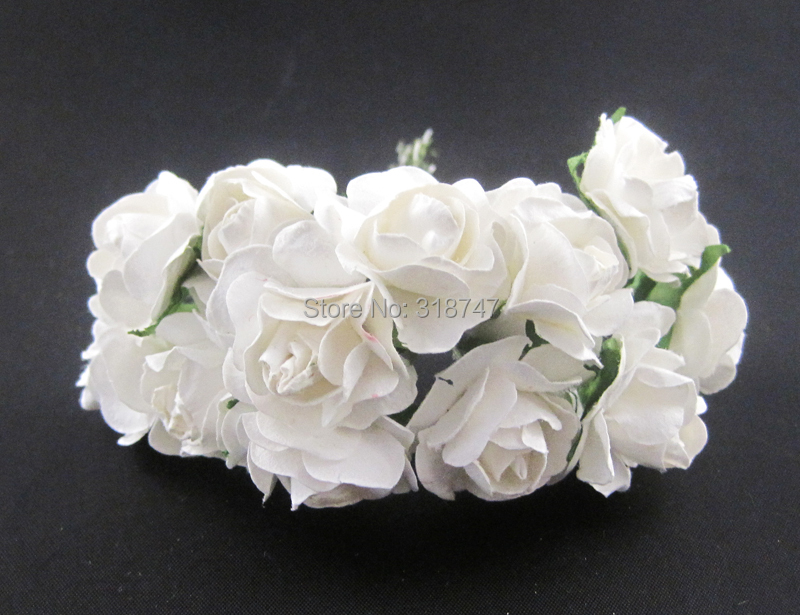 Гаджет  144pcs/Lot  white color Mulberry Paper Rose Flower Bouquet/wire stem/wedding flower Free shipping  027020001 None Дом и Сад