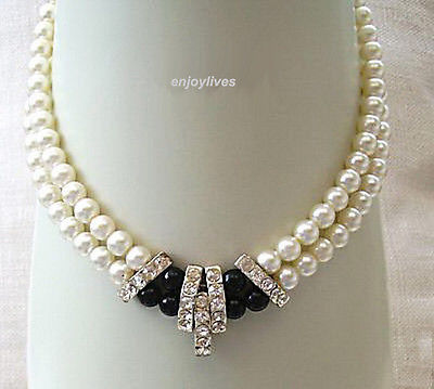 new Style Hot sale****2 Rows Genuine White Pearl Black Agate White Gold Plated Crystal Necklace Fashion Wedding Party Jewellery(China (Mainland))