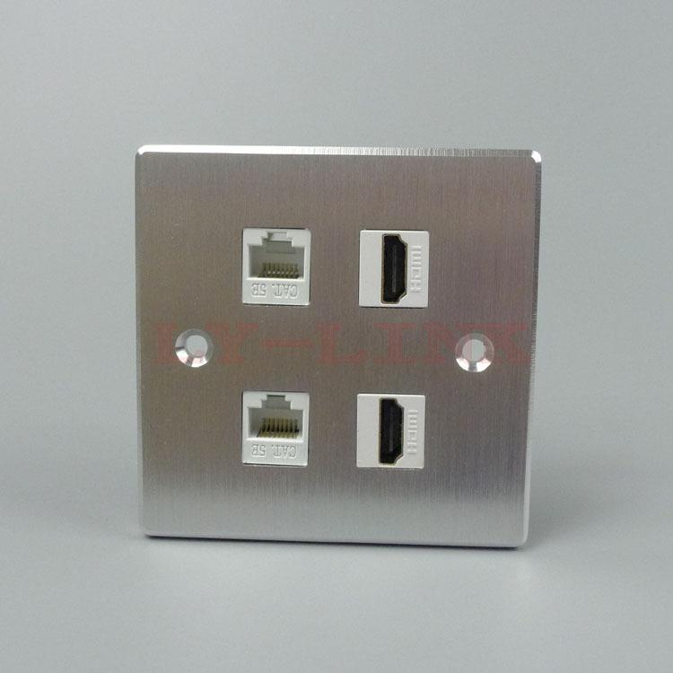 Aluminum 4 ports HDMI RJ45 wall plate support DIY(China (Mainland))