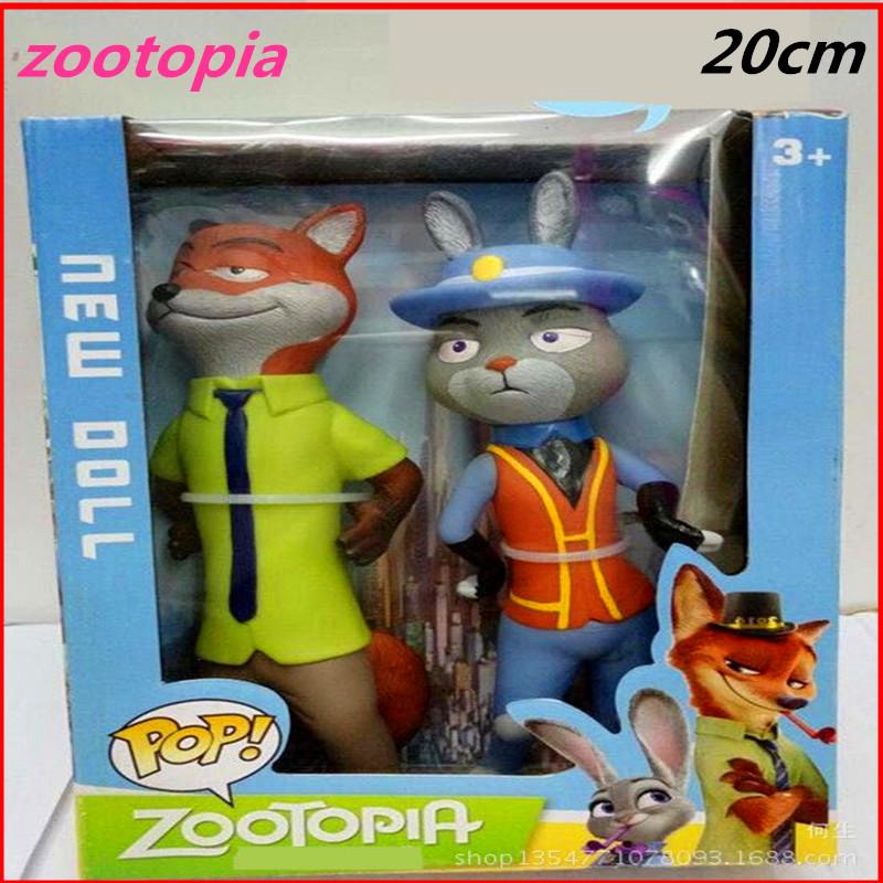 2016 new 20cm Zootopia Cartoon Utopia Action Figure Movie pvc models big Zootopia Anime Nick Fox Judy Rabbit Kids toys for girls