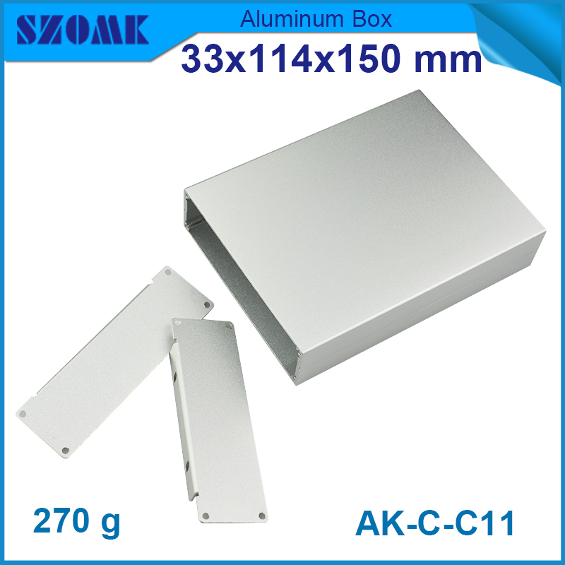 1 piece free shipping enclosure anodizing aluminum walled up in silver color with smooth anodizing surface33(H)x114(W)x150(L)mm<br><br>Aliexpress