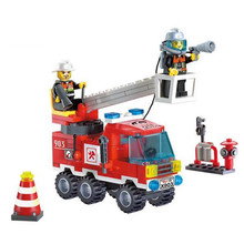 Different Combinations !! 130pcs/set Fire Fighting Truck DIY Building Blocks Educational Puzzle Toys Kids Birthday Gifts(China (Mainland))