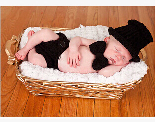 2015 Newborn Baby black Formal hat & caps Infant photography props handmade knitted cotton crochet sets hats & diaper cover(China (Mainland))