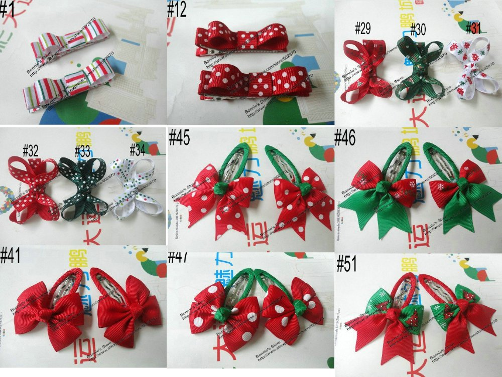 12pcs/lot Christmas Bow simple hair clip little hair bow great gift for Christmas 54 styles