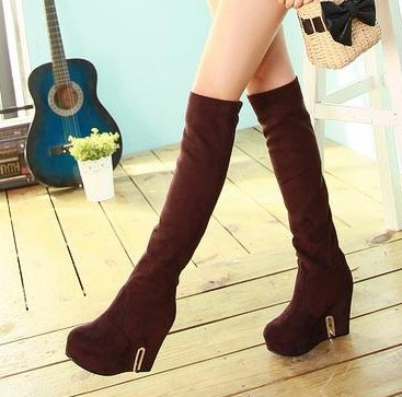 Elastic boots scrub women's velvet shoes over-the-knee gaotong wedges high-heeled - Classic Women's store