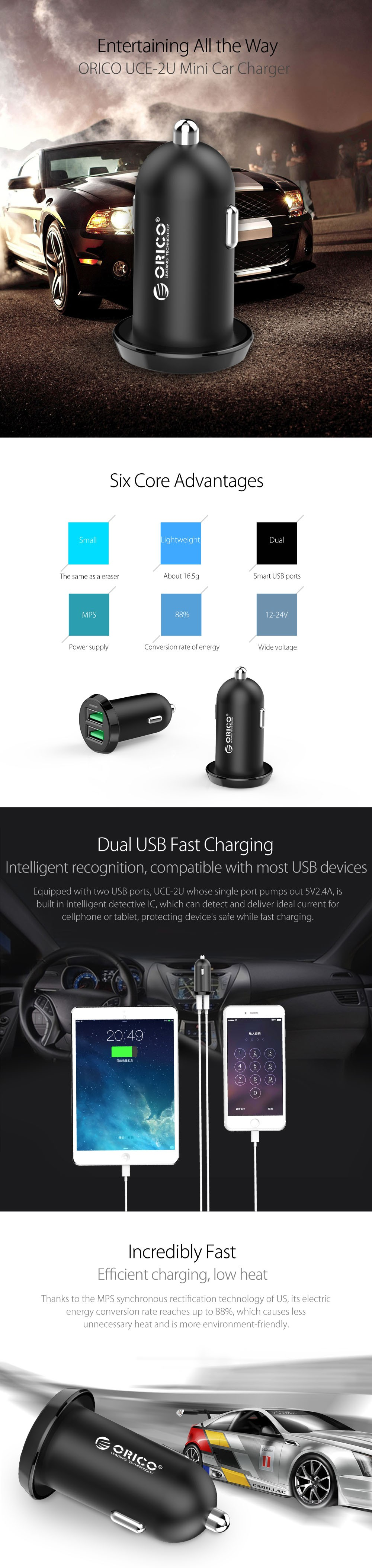 Dual Usb Car Charger Adapter ORICO 2 USB Port Led 2.4A Smart Car Charger for Iphone Samsung Phone Car Charging Cccessories