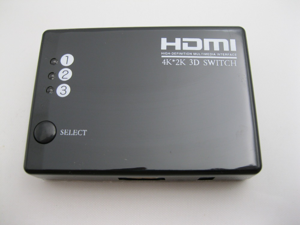 New Mini 4K*2K 3 Port HDMI Switch 3x1 HDMI Switcher 3 input 1 output Splitter HDMI Port for HDTV 1080P Video with Remote control(China (Mainland))