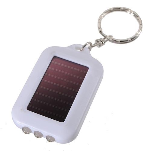 PROMOTION!10X Mini Solar Power Rechargeable 3LED Flashlight Keychain - White(China (Mainland))