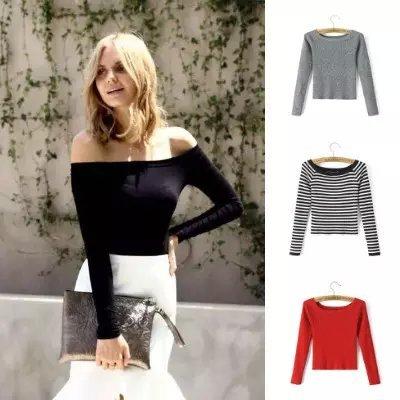 2T15 весна женщины мода трикотажные свитера стрейч короткие пуловеры сексуальная ...