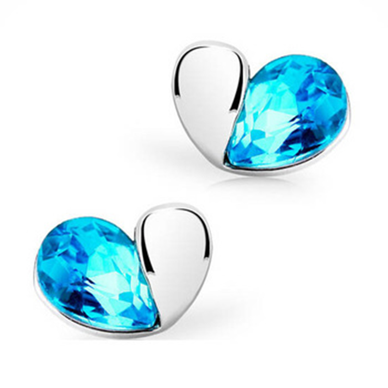 Heart of the Ocean Style Lovely Crystal Swan Stud Earrings for Women Jewelry(China (Mainland))
